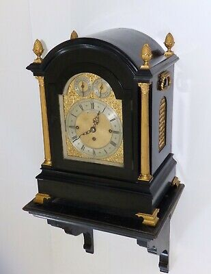 A late Victorian ebonised chiming bracket clock by Dent of London