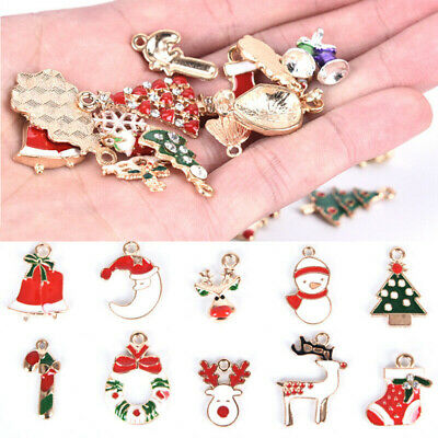 Christmas Series Enamel Alloy Beads Mixed Charms Pendants DIY Jewelry Findings