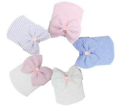 Comfy Hat Bowknot Beanie Hospital Toddler Stripe Soft  Infant Girl Newborn Baby