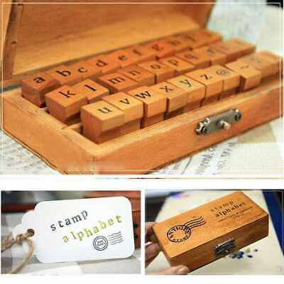 30pcs Vintage Alphabets Handwriting Lowercases Letter Wooden Rubber Stamp Boxes