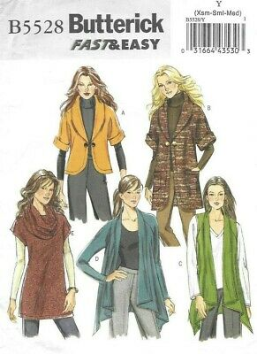 Butterick Sewing Pattern 5528, FAST & EASY Cardigan Jackets, Tunic Size 4-12 NEW