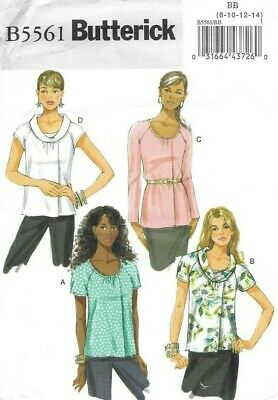 Butterick Sewing Pattern 5561, EASY Raglan Top with Front Pleat, Size 8-14 NEW