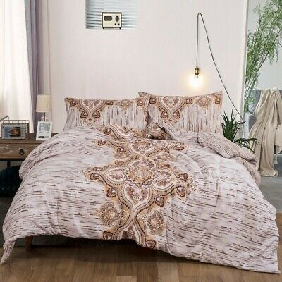 Striped Floral Queen/King Size Bed Doona Duvet Quilt Cover Set Bedding Brown New
