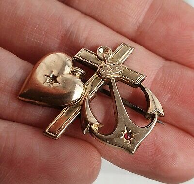 Antique Edwardian Art Nouveau Style Gold Plated Love, Hope & Faith Brooch