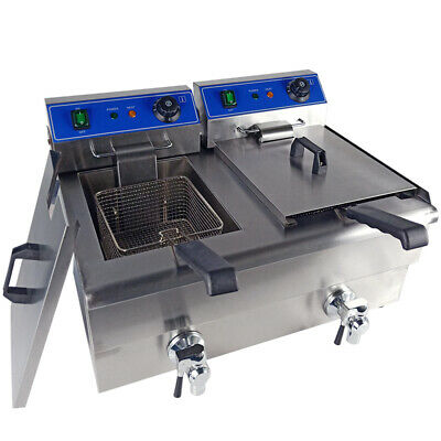 20L Electric Deep Fryer Fat Chip Frying Commercial Twin Tank Stainless Steel UK