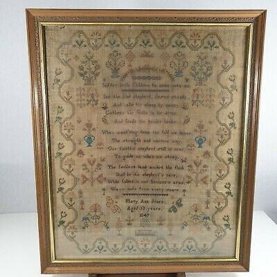 Antique 19th Century Victorian Sampler Dated 1849 By Mary Ann Jones Aged 10