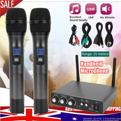 Professional UHF 25 Channel Dual Wireless Microphone Mic System Handheld Karaoke