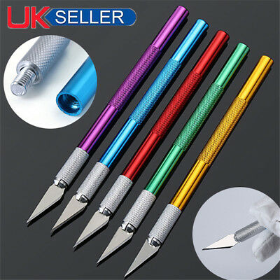 Metal Scalpel Knife Cutter Engraving Craft Tool knives & 5pcs Blades Kit UK