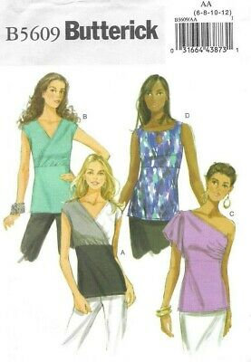 Butterick Sewing Pattern 5609 EASY Empire Line Tops, One Shoulder, Size 6-12 NEW