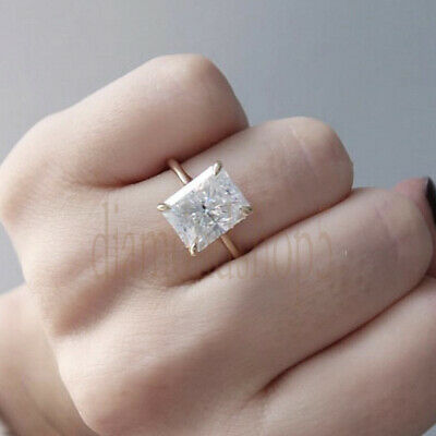 3.62 Ct Near White Radiant Real Moissanite Engagement Ring 10k Solid Yellow Gold