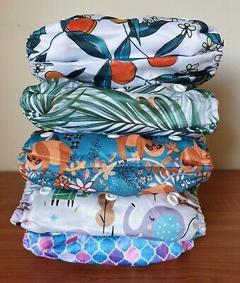 1 x ICLOTHUP Baby One Size Double Gusset Velcro Pocket Cloth Nappy Shell