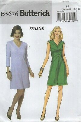 Butterick Sewing Pattern 5676, EASY V Neck and V-Waist Dress, Size 8-16 NEW