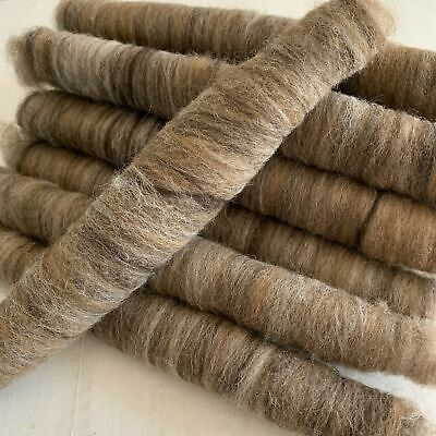 Raw Alpaca Fleece Rolags For Spinning or Felting - Mid Brown Mix