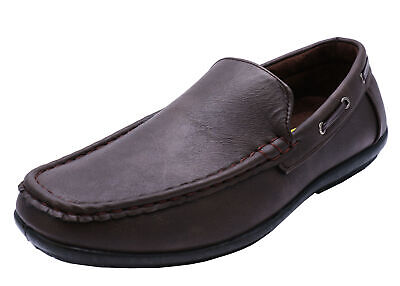 Mens Brown Slip-On Loafers Moccasins Smart Casual Work Deck Shoes Sizes 7-11