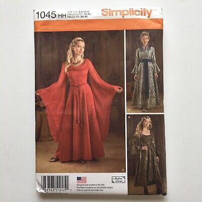 Simplicity Pattern 1045 Medieval Gown Faire Dress Costume SZ 6 8 10 12  UNCUT