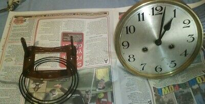 Vintage wall clock movement, face and chime gong
