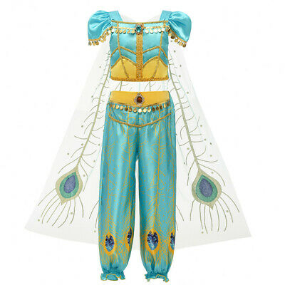 Kids Girls Cosplay Princess Sequin Crop Tulle Tops Tassel Pants Party Outfits