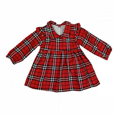 Baby Girls Red Frill Long Sleeve Tartan Check Red Collared Dress Cotton 12-24M