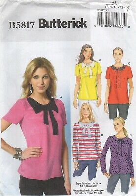 Butterick Sewing Pattern 5817, EASY Applique Collared Tops, Size 6-14 +Cups, NEW