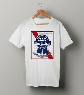 Pabst Blue Ribbon Beer Milwaukee Draft Cool Retro White T-Shirt Unisex Fit GP158