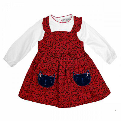 Baby Girls Red Navy White Frilly Floral Cat Face Pinafore Dress & Blouse 12-24M