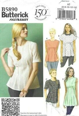Butterick Sewing Pattern 5890, FAST & EASY Blouse, Tuck Shaping, Size 6-14 NEW