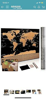 Large Deluxe Scratch Off World Map Poster US Stars & Country Flag Scratch Map