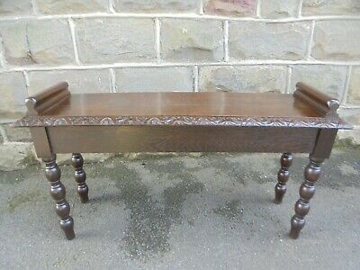 Antique Carved Oak Hall Seat Bench Stool