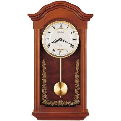 Pendulum Chime Wall Clock Quartz Movement Automatic Night Shutoff Wooden Case