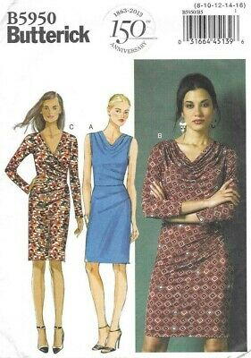 Butterick Sewing Pattern 5950, EASY Wrap or Drape Front Dress, Size 8-16 NEW