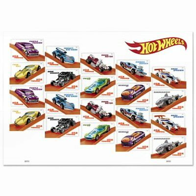 NEW Hot Wheels Sheet of 20 Forever USPS First Class Stamps