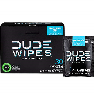 DUDE Wipes Flushable Wet Wipes 30 Wipes, Individually Wrapped for Travel, Wet &