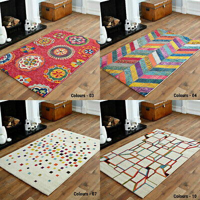 Fashionable Floral Pattern Large To Small Modern Soft Multi Colour Rug Best Deal