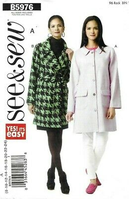 Butterick See & Sew Pattern 5976, EASY Jackets or Coats, Wrap Mac, Size 8-24 NEW