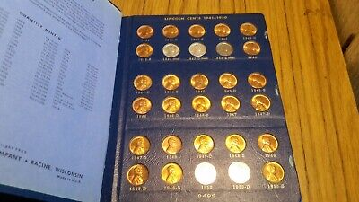 1941-1974 Pds Unc Lincoln Wheat Cents 90 Coins With Whitman Folder #-9406 Lot(1)