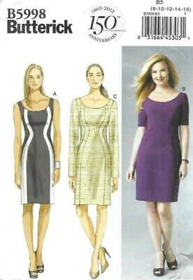 Butterick Sewing Pattern 5998, EASY Fitted Body-Con Style Dresses, Size 8-16 NEW