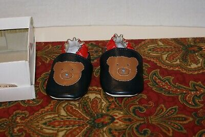 Child Toddler Faux Leather Booties  Baby Boy Girl NAVY TEDDY BEAR SZ.2 NEVER WOR