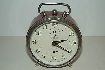Antique Clock Vintage 1970 Peter Clock Mechanical Deco Design Loft / Clock