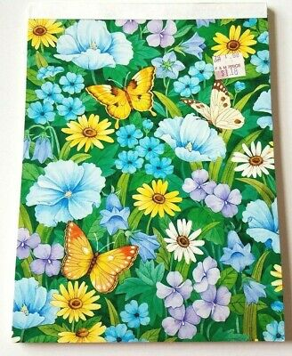 Vintage Stationery Writing Tablet American Greetings Flowers and Butterflies