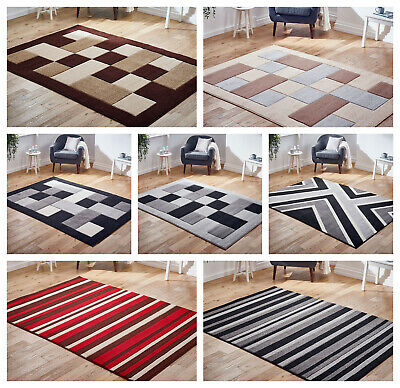 New Design Blocks Striped Grey Black Beige Thick Pile quality Rugs at Low Cost
