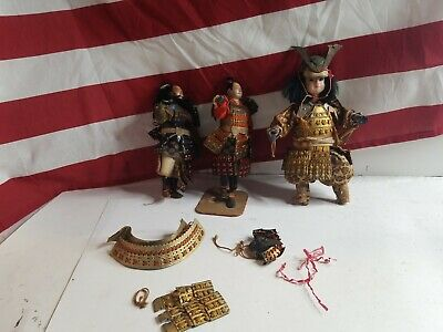 Antique Japanese Samurai Doll Ningyo Paper ceramic glass eyes cotton