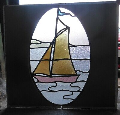 Yachting scene scene coloured glass window (stained glass?)