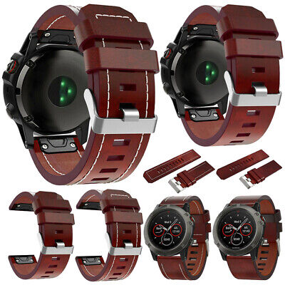 For Garmin Fenix 6 6X 6S Pro Solar Genuine Leather Watch Band Quick Fit Strap