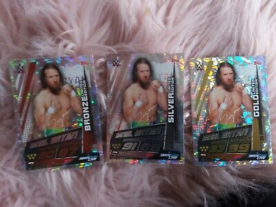 WWE Slam Attax Universe DANIEL BRYAN full set LIMITED EDITION GOLD SILVER BRONZE