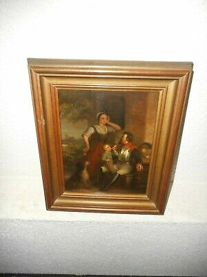 19th century oil painting +- 1870,{ Knight with a lady, child & dog }. Antique!
