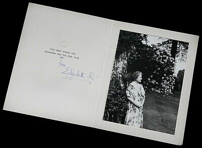 Hand Signed Autograph -Elizabeth Royal, Queen Mother- 1970 Christmas Year Card