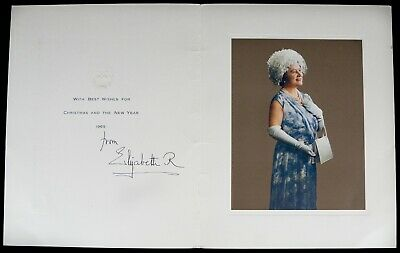 Hand Signed Autograph -Elizabeth Royal, Queen Mother- 1965 Christmas Year Card