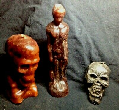 CANDLES, Voodoo, Wicca, Skull, figure, Black, magic candles,1990s, occult, RARE