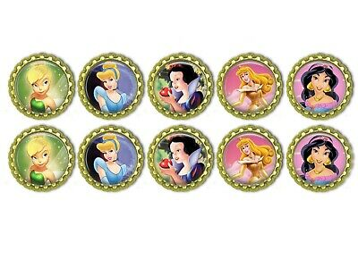 10x  Tinkerbell Bottle Caps 1inch