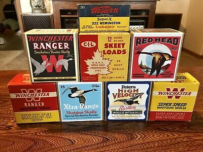 8 Collector Empty  Shotgun  Shell Boxes Peters, Winchester, CIL, Red head